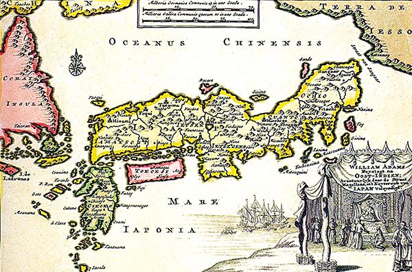 Mapa Japonii zkartuszem przedstawiającym Adamsa przedobliczem Tokugawy. ©Wikimedia Commons, domena publiczna.