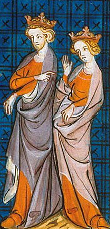 Henryk II zmałżonką, Eleonorą Akwitańską. ©Wikimedia Commons, domena publiczna.
