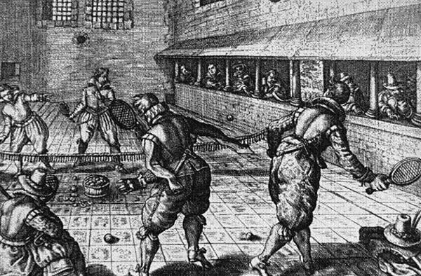 Henryk VIII, podobnie jak wielu zjego dworzan, zwielką przyjemnością grał wtenisa. Wswoich pałacach miał wybudowanych kilka boisk, wtym jedno wHampton Court. Źródło: http://www.thetudortattler.com/2012/01/pastyme-with-good-companye-games.html
