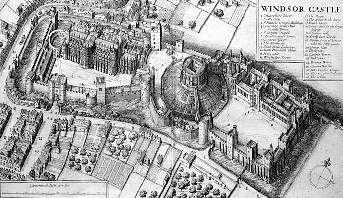 Na powyższej rycinie przedstawiającej zamek Windsor można zobaczyć także kort tenisowy. Źródło: http://onthetudortrail.com/Blog/resources/life-in-tudor-england/tennis-in-tudor-times/