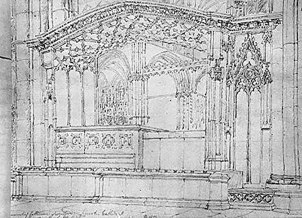 Rycina przedstawiająca grobowiec Katarzyny Swinford. ©Wikimedia Commons, domena publiczna.