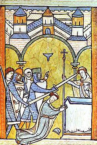 Trzynastowieczna ilustracja przedstawiająca mord naTomaszu Beckecie. ©Wikimedia Commons, domena publiczna.