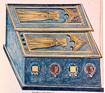 Rycina przedstawiająca sarkofag Katarzyny Swinford ijej córki zezwiązku zJanem – Joan Beaufort. ©Wikimedia Commons, domena publiczna.