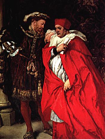 Henryk VIII ijego zaufany doradca – kardynał Wolsey. Obraz pędzla Johna Gilberta. ©Wikimedia Commons, domena publiczna.