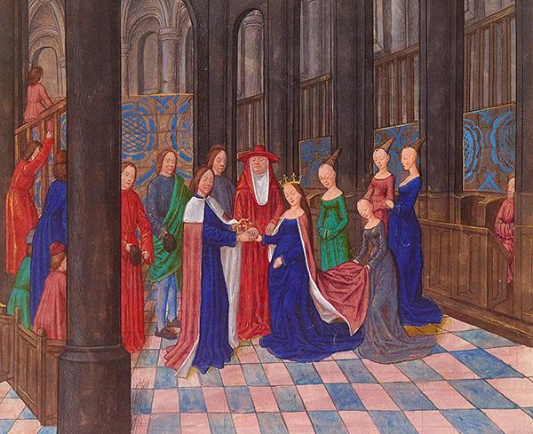 Barwna miniatura przedstawiająca ślub Edwarda IV zElżbietą. ©Wikimedia Commons, domena publiczna.
