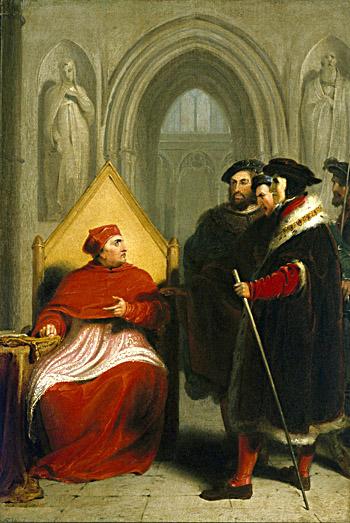 Wolsey zmuszony dorezygnacji zurzędu – obraz pędzla Richarda Westalla. ©Wikimedia Commons.