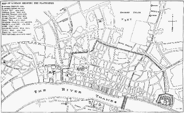 Mapa Londynu, naktórejzaznaczono teatr złożony w1576 roku – The Theatre. ©Wikimedia Commons, domena publiczna.