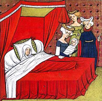 Narodziny dziecka ukazane naśredniowiecznej miniaturze. ©Wikimedia Commons, domena publiczna.