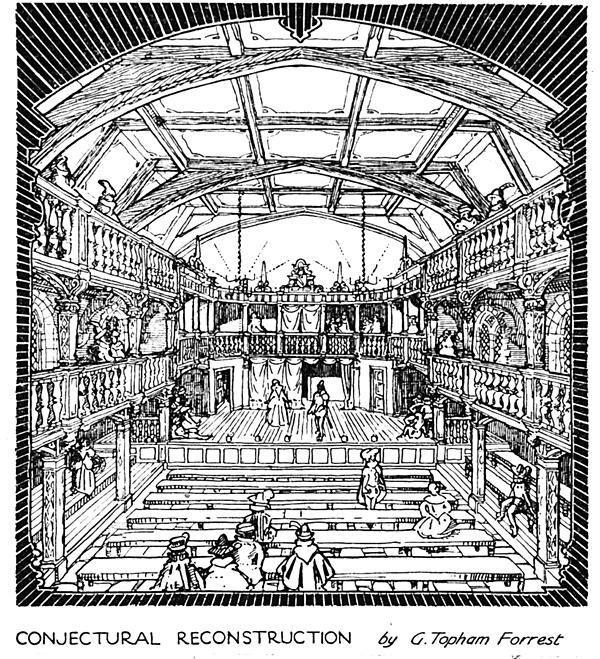 Rycina ukazująca rekonstrukcję drugiego teatru Blackfriars. ©Wikimedia Commons, domena publiczna.