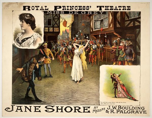 Plakat promujący sztukę oJane Shore, wystawianą nadeskach Royal Princess Theatre wEdynburgu w1885 roku. ©Wikimedia Commons, domena publiczna.