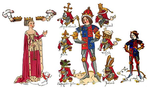 Ryszard III zrodziną (grafika autorstwa Johna Rousa). ©Wikimedia Commons, domena publiczna.