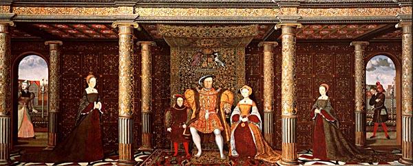 Rodzina Henryka VIII, obraz z1545 r. Zprawej strony malarz ukazał Willa Somersa, az lewej – Jane Foole. ©Wikimedia Commons, domena publiczna.