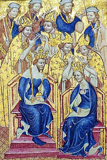 Karta zLiber Regalis ukazująca Ryszarda II iAnnę Czeską. ©Wikimedia Commons, domena publiczna.