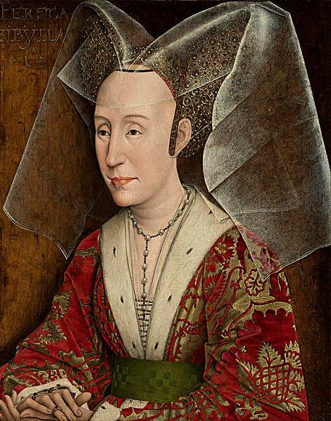 Hennin – kobiece nakrycie głowy (tu ukazane naportrecie Izabeli Portugalskiej), które wzbudziło takwielkie zdziwienie angielskich poddanych, gdyzaprezentowała się wnim królowa Anna. ©Wikimedia Commons, domena publiczna.