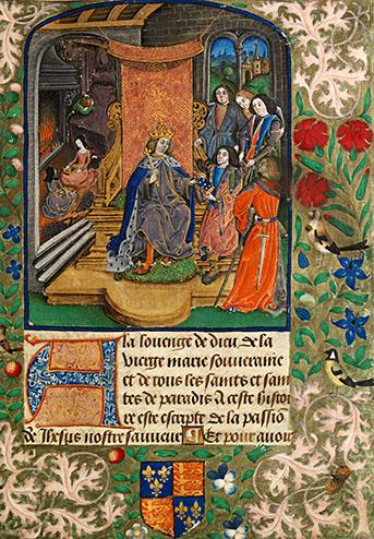 Karta zVaux Passional, ukazująca rodzinę królewską idworzan pogrążonych wsmutku pośmierci królowej Elżbiety. ©Wikimedia Commons, domena publiczna.