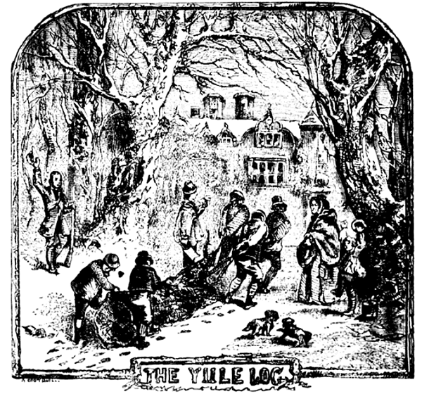 Ilustracja przedstawiająca grupę osób ciągnących Yule log. ©Wikimedia Commons, domena publiczna.