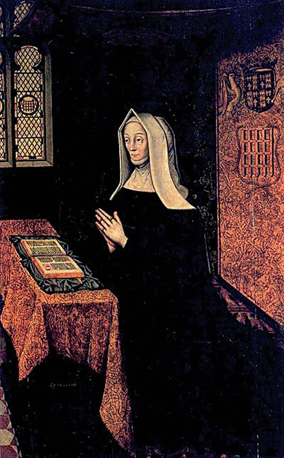 Wyjątkowa pobożność Henryka była efektem wychowywania go przezbabkę, bogobojną Małgorzatę Beaufort. Wikimedia Commons, domena publiczna.
