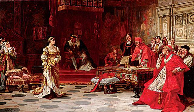 Choć Henryk VIII zacieśnił swe więzi zeświatem katolickim poprzez ślub zKatarzyną Aragońską, polatach zrobił wszystko, aby się odniej uwolnić. Wikimedia Commons, domena publiczna.