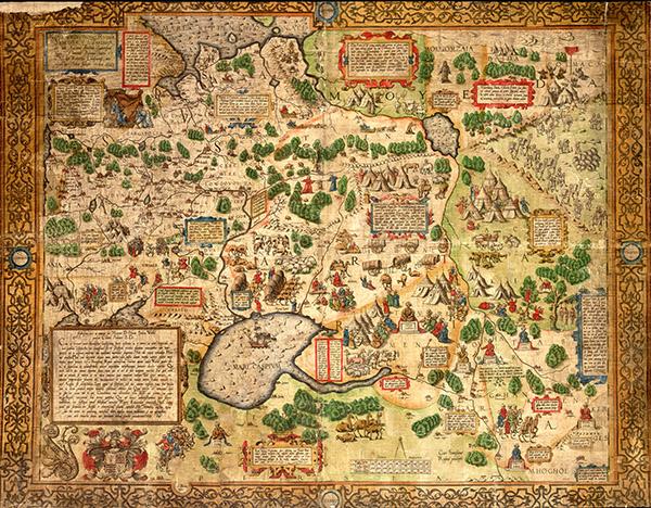 Kopia oryginalnej mapy wykonanej przezAnthony'ego Jenkinsona, Oddział Zbiorów Kartograficznych Biblioteki Uniwersyteckiej weWrocławiu.
