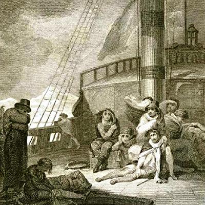 Rycina przedstawiająca śmierć Hugh Willoughby'ego ijego załogi, autorstwa nieznanego artysty. ©Wikimedia Commons, domena publiczna.