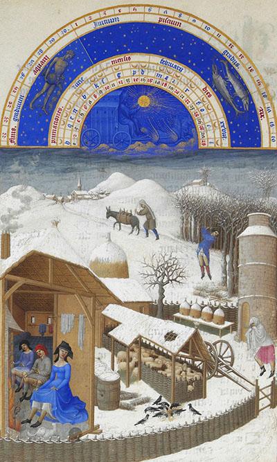 Ilustracja przedstawiająca życie nawsi wczasie ciężkiej zimy. Wdomu, ukazanym bezjednej ześcian, bywidz mógł zajrzeć dośrodka, grzeją się przy kominku trzy osoby. ©Wikimedia Commons, domena publiczna.