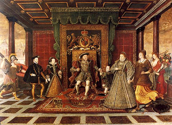 Na obrazie dominuje postać Elżbiety Ii toona nosi najwspanialszy strój. ©Wikimedia Commons, domena publiczna.